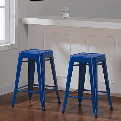 Set of 2 Royal Blue Tolix Style Metal Counter Stools in Glossy Powder Coated Finish