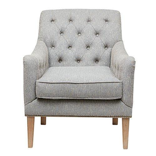 Contemporary Rolled Back Button Tufted Gray Upholstered Accent Amrchair with Nailhead Trim and Wood Legs