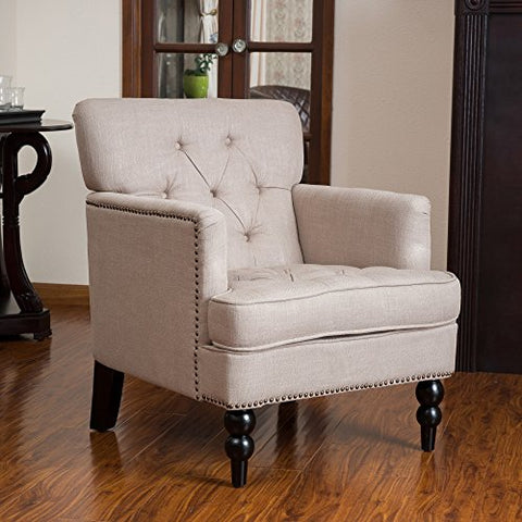 Mid Century Style Beige Linen Button Tufted Upholstered Accent Armchair with Espresso Legs with Metal Nailheads