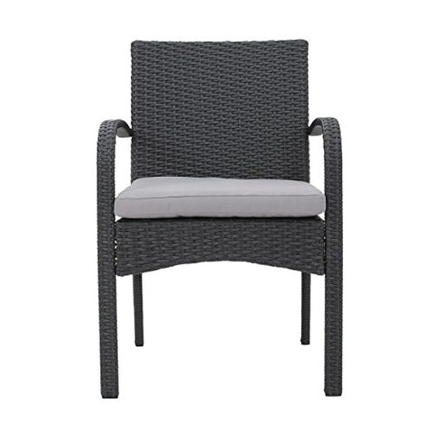 Contemporary Set of 2 Wicker Dining Chair with Beige Cushions  (Gray)