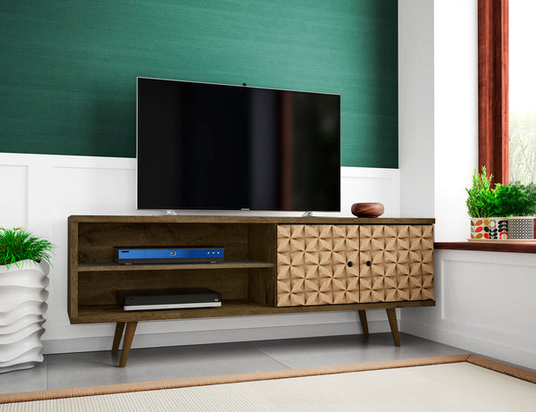 Mid Century Modern TV Stand Media Cabinet with Shelves and Doors (Rustic Brown with 3D Print)