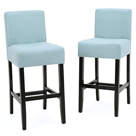 Astounding Modern Transitional Fabric Upholstered Set Of 2 Counter Stool With Rubber Wood Legs Blue Bralicious Painted Fabric Chair Ideas Braliciousco