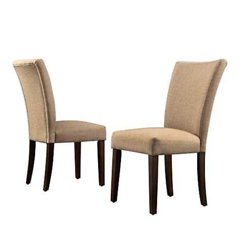 Modern Light Brown Linen Parsons Style Dining Chairs Wood Finish Wooden Legs Set Of 2