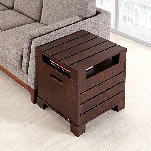 Vintage Casual Design Wood Side Accent Table in Espresso Finish