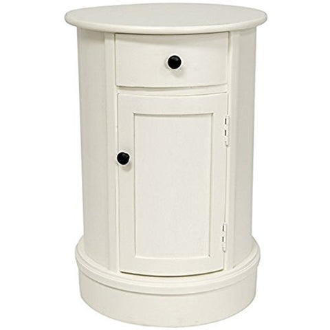 Modern Living Room Narrow Nightstand Oval 26 Inch Wooden White Chairside Table With Storage Cabinets