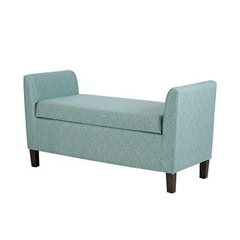 Fantastic Modern Retro Blue Upholstered Accent Storage Bench With Arm Dailytribune Chair Design For Home Dailytribuneorg