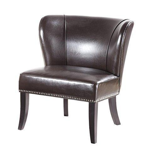 Contemporary Brown Faux Leather Upholstered Armless Accent Chair with Nailhead Trim and Dark Wood Legs