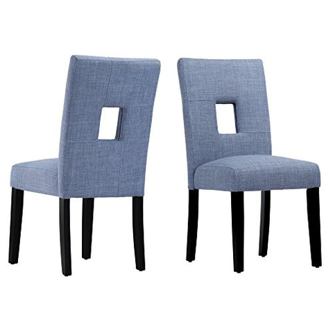 Modern Blue Linen Square Keyhole Dining Chairs | Black Finish Wooden Legs - Set of 2