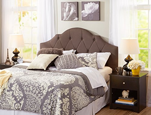 Modern Arch Diamond Button Tufted Fabric Upholstered Charcoal Gray Queen Headboard