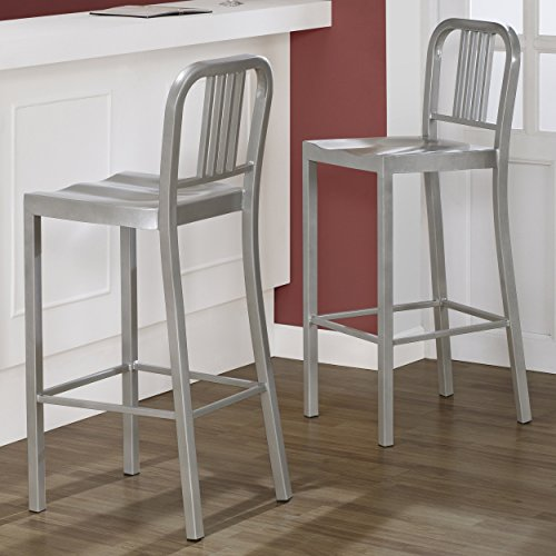 Set of 2 Silver Metal Bar Stools with Back in Glossy Powder Coated Finish Steel Dining Indoor