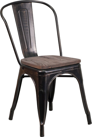 Restaurant Grade Black-Antique Gold Metal Stackable Chair with Wood Seat