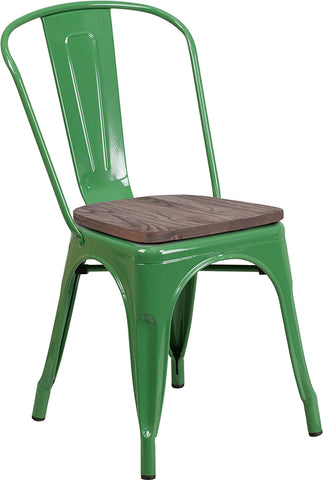 Restaurant Grade Green Metal Stackable Chair with Wood Seat