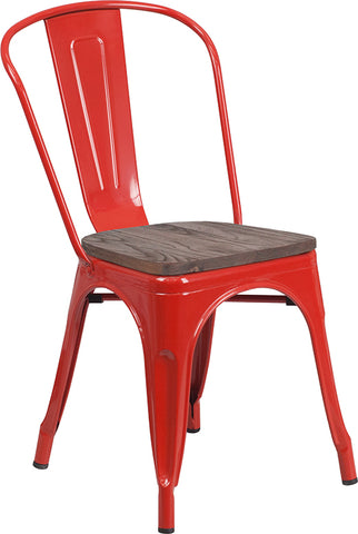 Restaurant Grade Red Metal Stackable Chair with Wood Seat