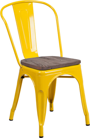 Restaurant Grade Yellow Metal Stackable Chair with Wood Seat