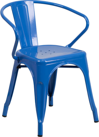 Restaurant Grade Blue Metal Indoor-Outdoor Chair with Arms