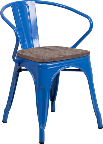Restaurant Grade Blue Metal Chair with Wood Seat and Arms