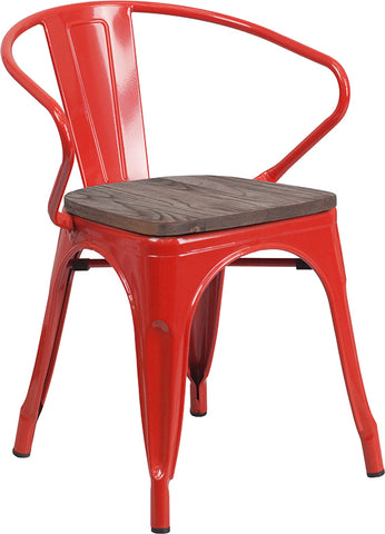 Restaurant Grade Red Metal Chair with Wood Seat and Arms