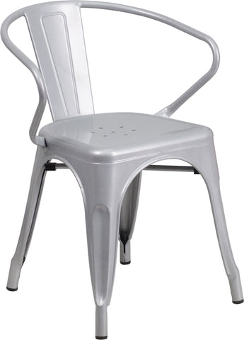 Restaurant Grade Silver Metal Indoor-Outdoor Chair with Arms