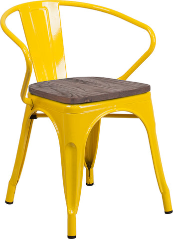 Restaurant Grade Yellow Metal Chair with Wood Seat and Arms