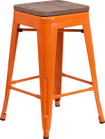 "Restaurant Grade 24"" High Backless Orange Metal Counter Height Stool with Square Wood Seat"