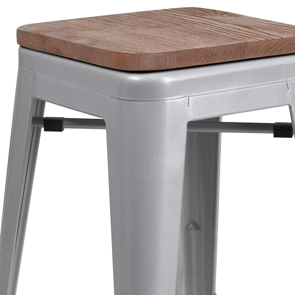 "Restaurant Grade 24"" High Backless Silver Metal Counter Height Stool with Square Wood Seat"