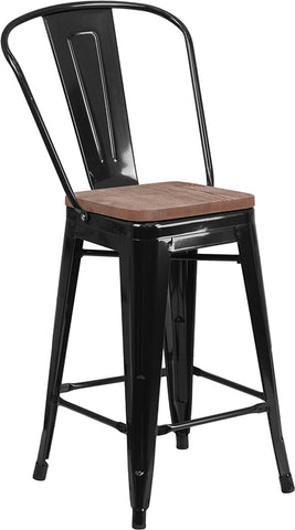 "Restaurant Grade 24"" High Black Metal Counter Height Stool with Back and Wood Seat"