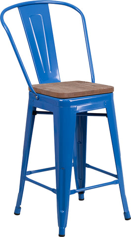 "Restaurant Grade 24"" High Blue Metal Counter Height Stool with Back and Wood Seat"