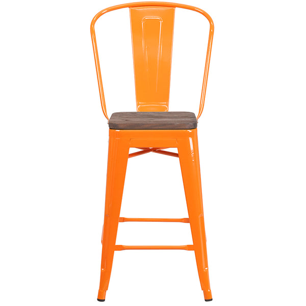 "Restaurant Grade 24"" High Orange Metal Counter Height Stool with Back and Wood Seat"