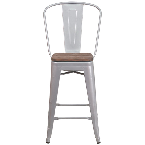 "Restaurant Grade 24"" High Silver Metal Counter Height Stool with Back and Wood Seat"