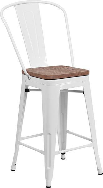 "Restaurant Grade 24"" High White Metal Counter Height Stool with Back and Wood Seat"