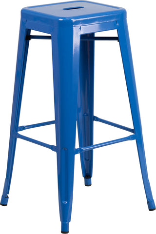 Restaurant Grade 30'' High Backless Blue Metal Indoor-Outdoor Barstool with Square Seat