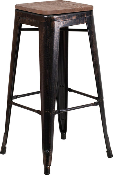 "Restaurant Grade 30"" High Backless Black-Antique Gold Metal Barstool with Square Wood Seat"