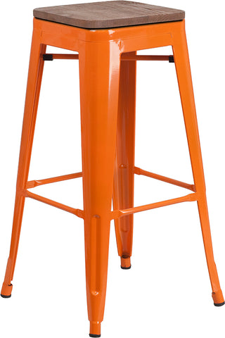 "Restaurant Grade 30"" High Backless Orange Metal Barstool with Square Wood Seat"