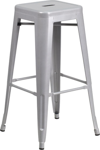 Restaurant Grade 30'' High Backless Silver Metal Indoor-Outdoor Barstool with Square Seat
