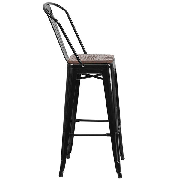"Restaurant Grade 30"" High Black Metal Barstool with Back and Wood Seat"