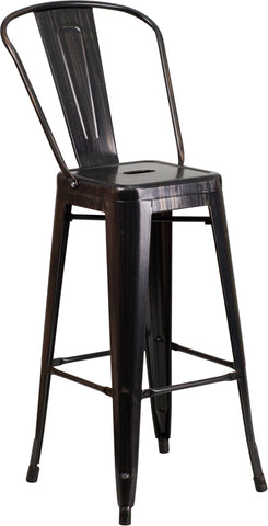 Restaurant Grade 30'' High Black-Antique Gold Metal Indoor-Outdoor Barstool with Back