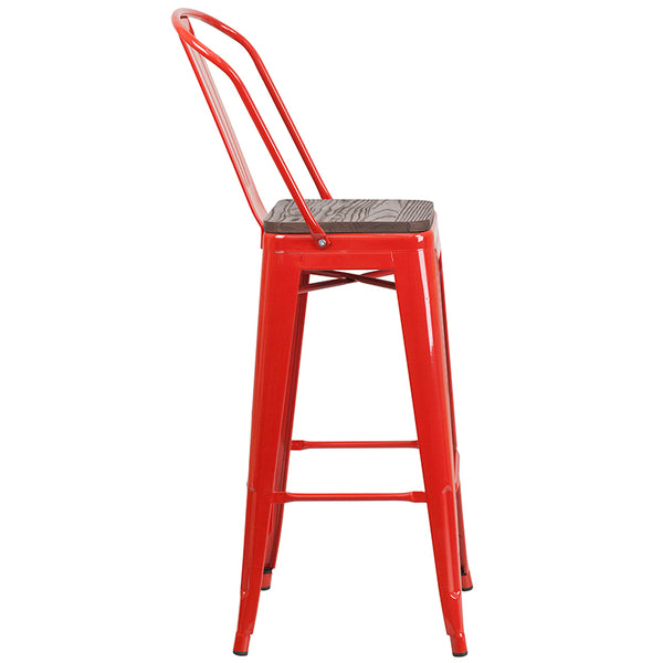 "Restaurant Grade 30"" High Red Metal Barstool with Back and Wood Seat"