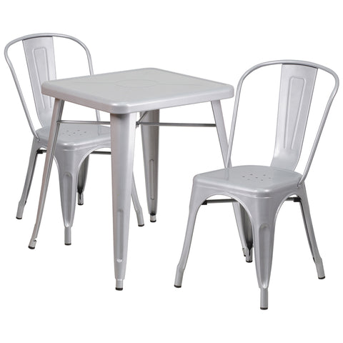 Restaurant Grade 23.75'' Square Silver Metal Indoor-Outdoor Table Set with 2 Stack Chairs