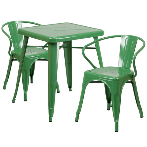 Restaurant Grade 23.75'' Square Green Metal Indoor-Outdoor Table Set with 2 Arm Chairs