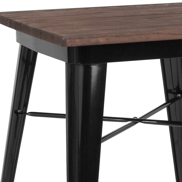 "Restaurant Grade 23.5"" Square Black Metal Indoor Table with Walnut Rustic Wood Top"