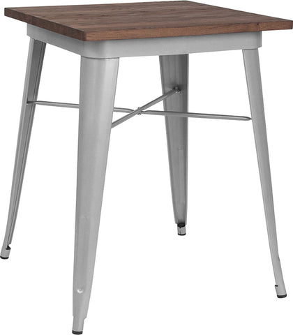 "Restaurant Grade 23.5"" Square Silver Metal Indoor Table with Walnut Rustic Wood Top"