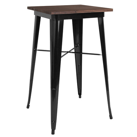 "Restaurant Grade 23.5"" Square Black Metal Indoor Bar Height Table with Walnut Rustic Wood Top"
