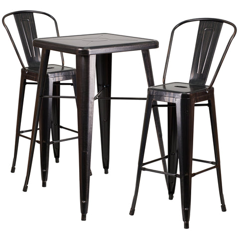 Restaurant Grade 23.75'' Square Black-Antique Gold Metal Indoor-Outdoor Bar Table Set with 2 Stools with Backs