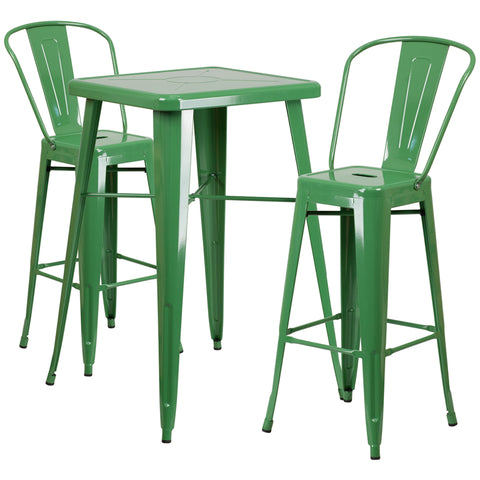 Restaurant Grade 23.75'' Square Green Metal Indoor-Outdoor Bar Table Set with 2 Stools with Backs
