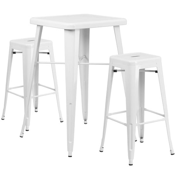 Restaurant Grade 23.75'' Square White Metal Indoor-Outdoor Bar Table Set with 2 Square Seat Backless Stools