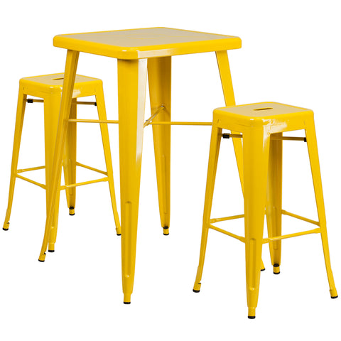 Restaurant Grade 23.75'' Square Yellow Metal Indoor-Outdoor Bar Table Set with 2 Square Seat Backless Stools
