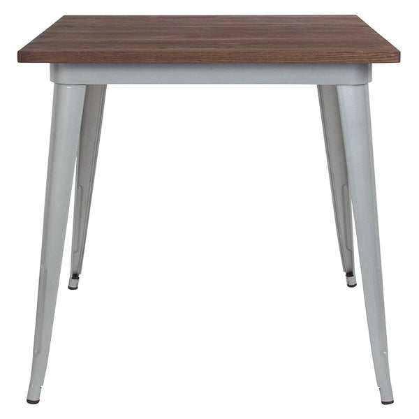 "Restaurant Grade 31.5"" Square Silver Metal Indoor Table with Walnut Rustic Wood Top"