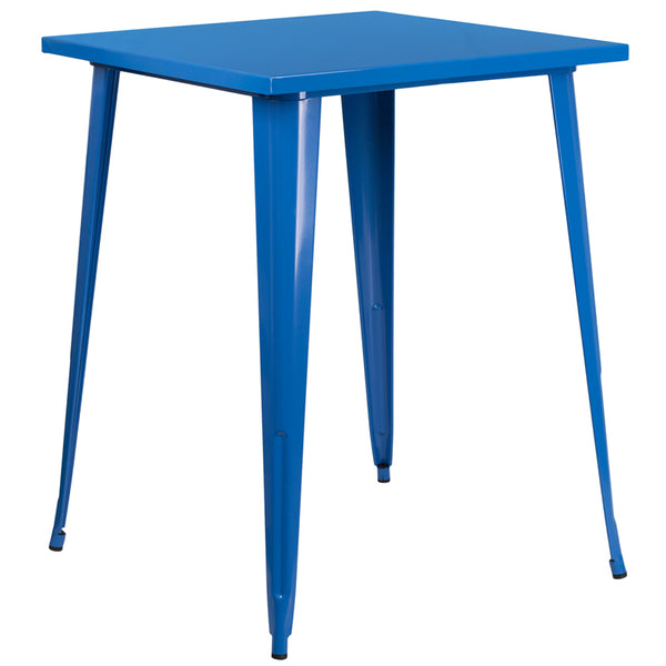 Restaurant Grade 31.5'' Square Blue Metal Indoor-Outdoor Bar Height Table