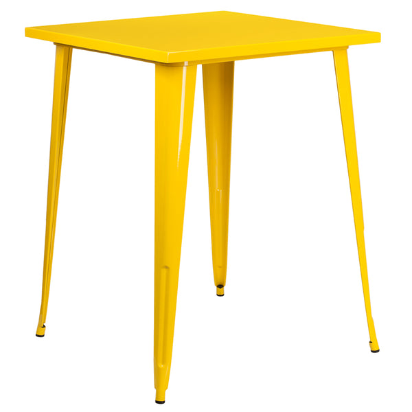 Restaurant Grade 31.5'' Square Yellow Metal Indoor-Outdoor Bar Height Table