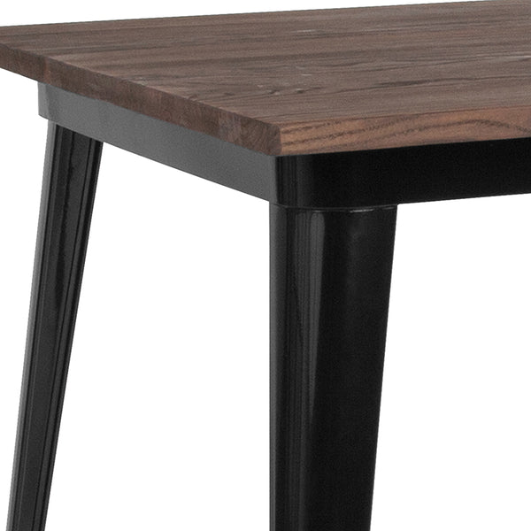 "Restaurant Grade 31.5"" Square Black Metal Indoor Bar Height Table with Walnut Rustic Wood Top"
